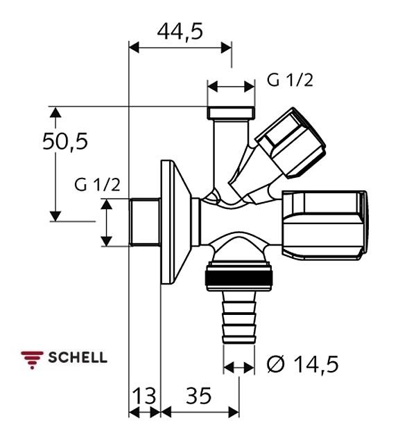 Robinet coltar combinat Schell Comfort 1/2-1/2-3/4