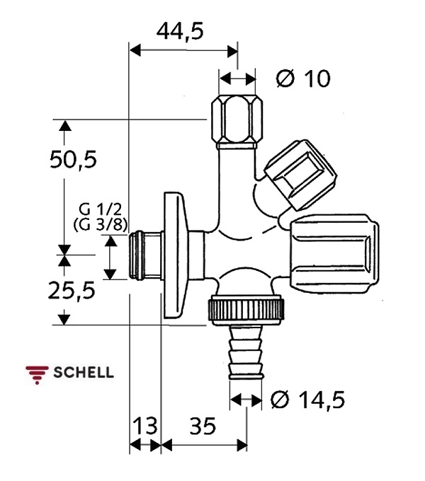 Robinet coltar combinat Schell Comfort 1/2-3/8-3/4