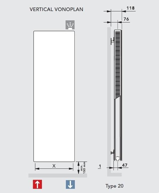 Calorifer vertica Vogel&Noot VonoPLAN K20x1600x500