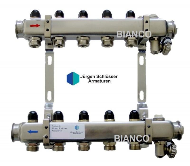 Distribuitor din inox cu 4 circuite pentru calorifere si sanitare
