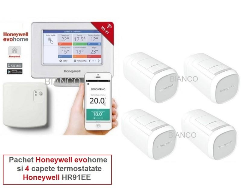 Honeywell EvoHOME pentru comanda centralei si 4 calorifere