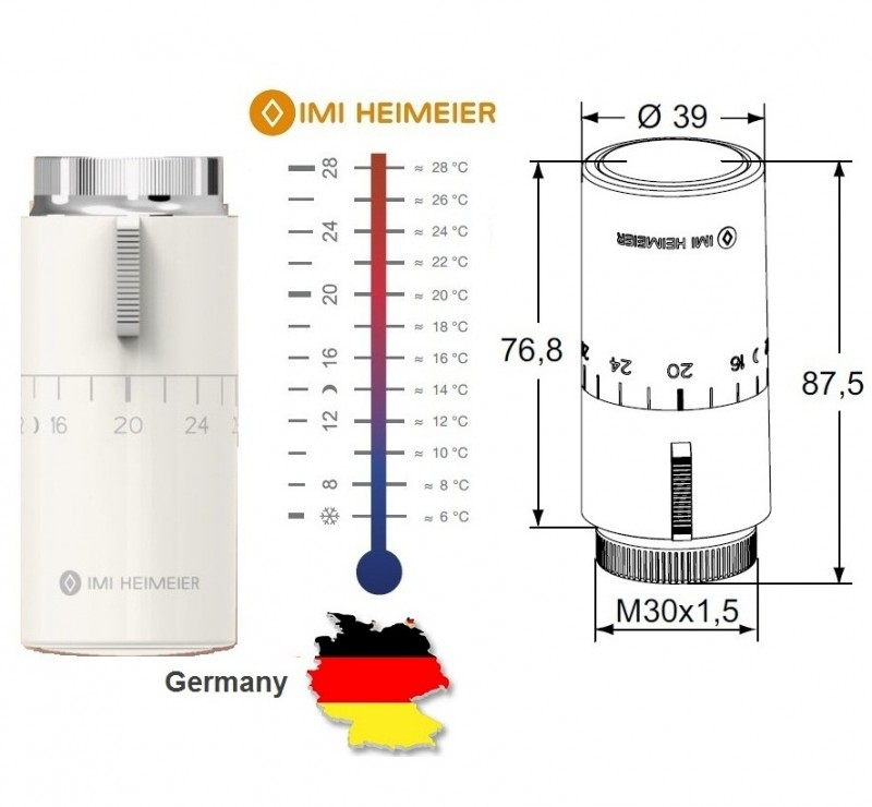 Cap termostatic Heimieier HALO cu scala de marcaj temperatura