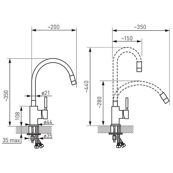 ZUMBA - baterie stativa bucatarie cu pipa flexibila