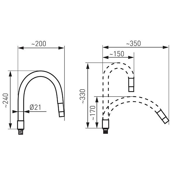 ELASTICO GALBEN - pipa flexibila pentru baterie bucatarie