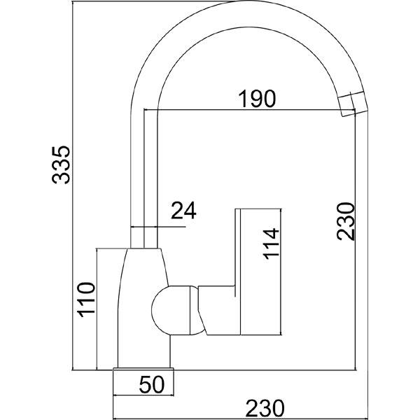 FRESH - baterie stativa bucatarie cu pipa rotunda