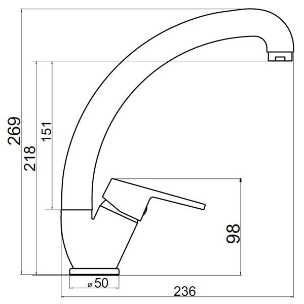 IRIS NEW - baterie stativa bucatarie cu pipa inalta