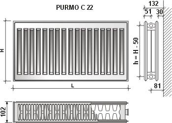 Calorifer din otel Purmo 22/600/2300
