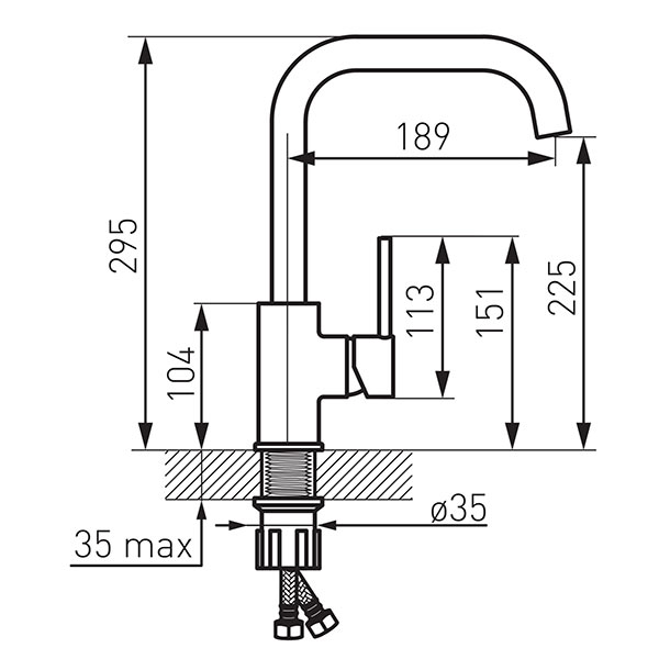 FREYA GRAFIT - baterie stativa de bucatarie cu pipa inalta