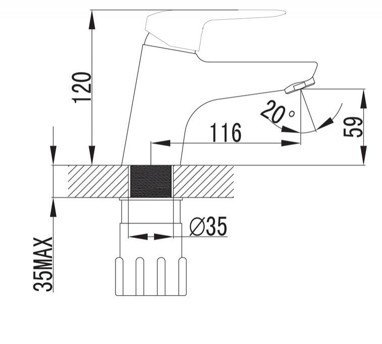 DIJON baterie stativa lavoar cu jet spray certificata LEED / BREEAM