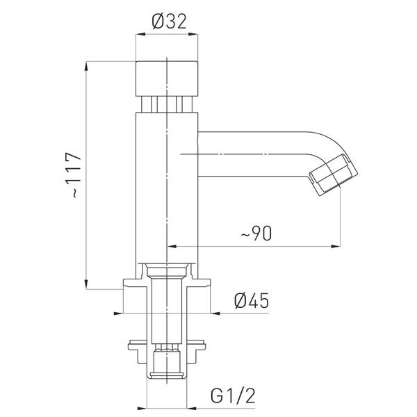 Presstige II robinet lavoar cu temporizare pentru apa rece