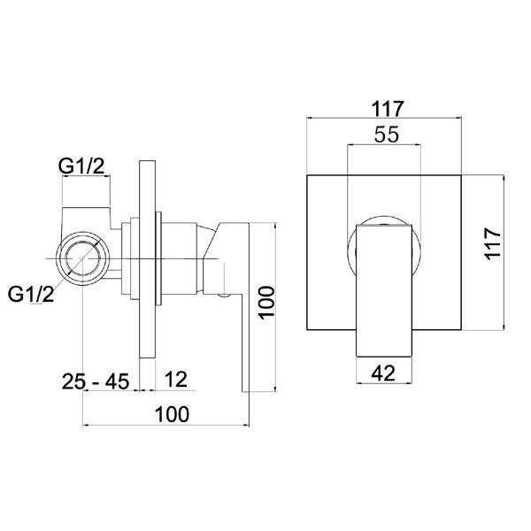 NOBLESS SHARP - baterie incastrata pentru dus