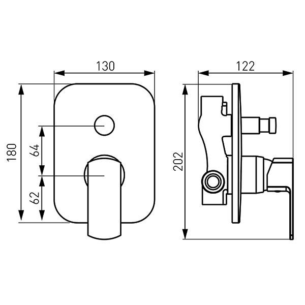 ALBA VerdeLine - baterie ingropata pentru  cada si dus