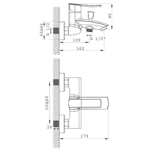 FLORENCE VerdeLine - baterie pentru cada / dus