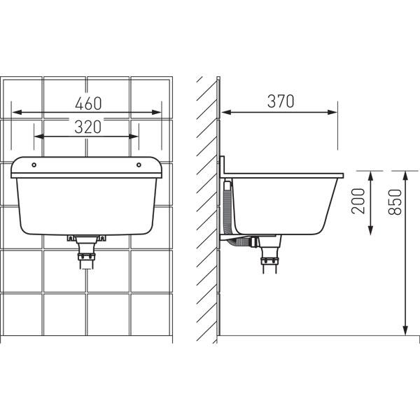Chiuveta ALBA din poliester 370x460 cu montaj incastrat sau pe perete