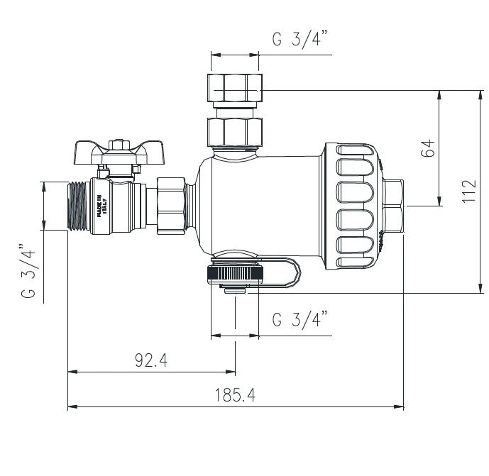 RBM MG1 3/4 filtru magnetic cu purjare pentru centrala termica