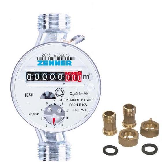 Contor de apa calda 3/4, ZENNER ETW, clasa B, DN20