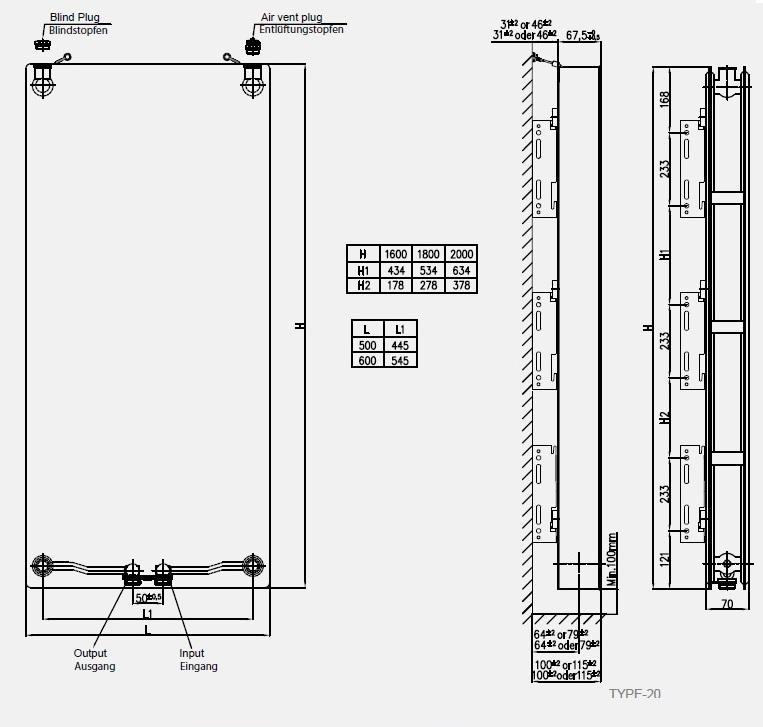 Calorifer vertical COPA Premium FLAT 20x2000x500