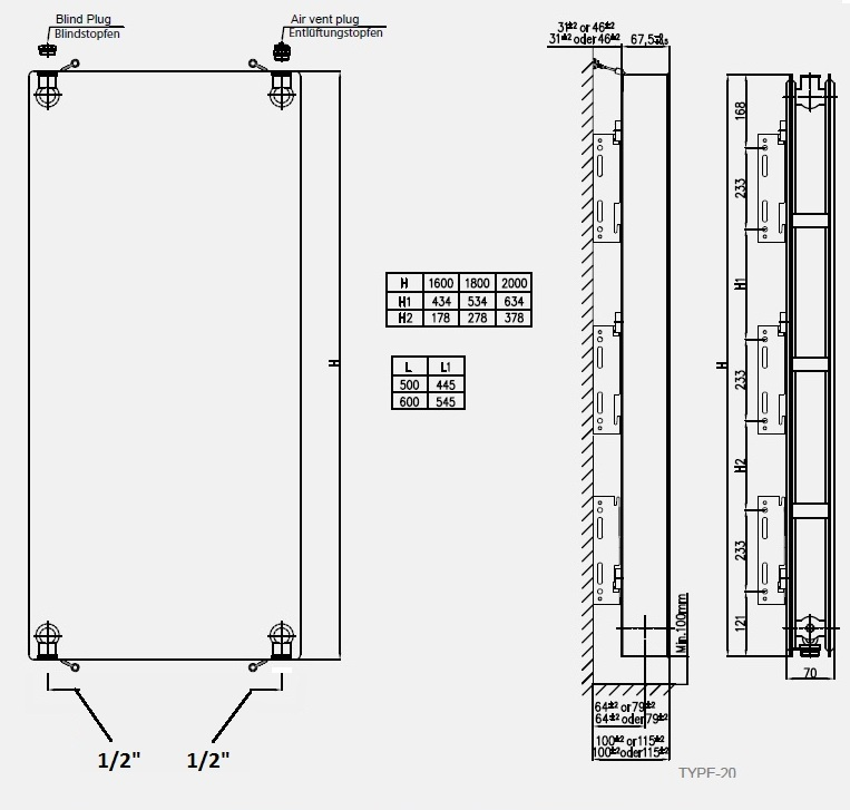 Calorifer vertical COPA 20x1600x600