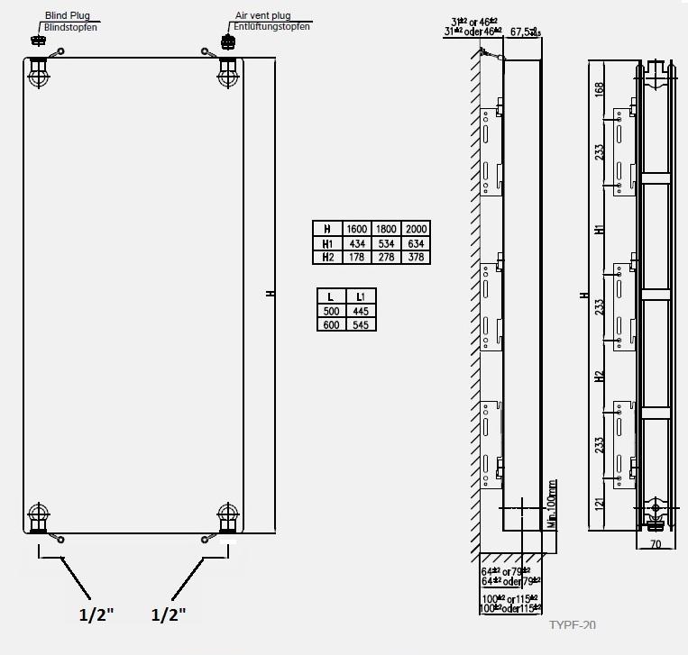 Calorifer vertical COPA 20x1800x600