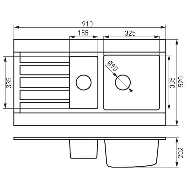 Pachet OZZY SAND chiuveta dubla din granit 91x52 cu baterie