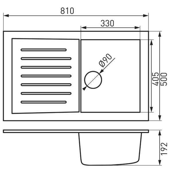 Pachet KIZZ SAND chiuveta din granit 81x50 cu baterie