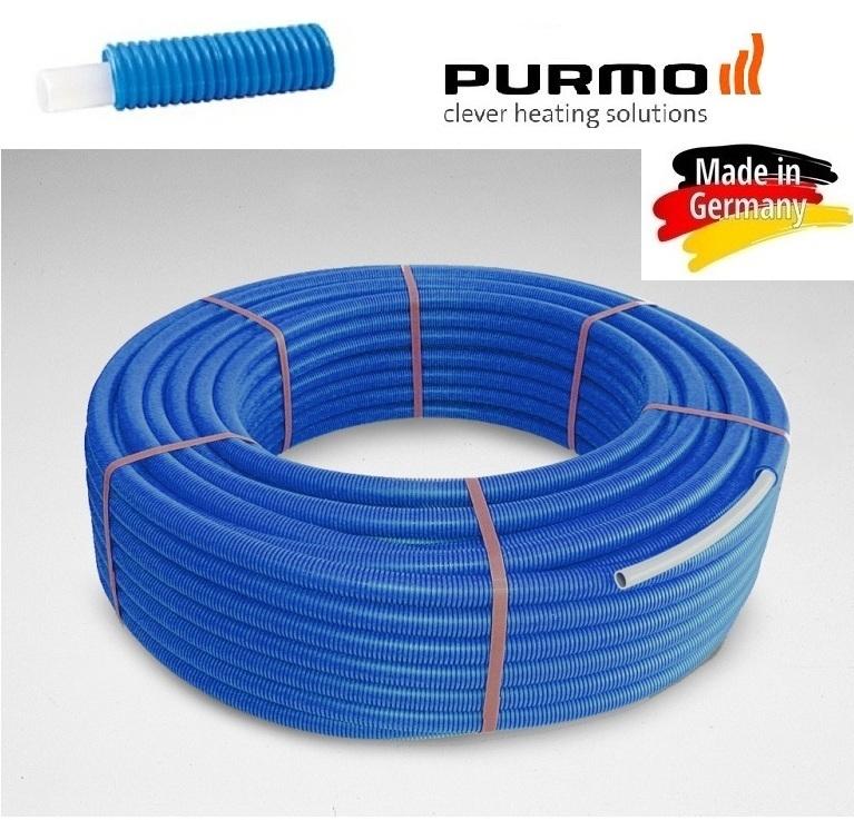 Teava PEX Purmo 16x2 colac 100 m cu izolatie albastra