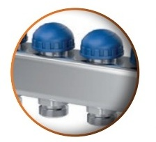 Distribuitor din inox cu 4 circuite debitmetre si ventile termostatice Purmo Premium