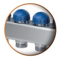 Distribuitor din inox cu 5 circuite debitmetre si ventile termostatice Purmo Premium