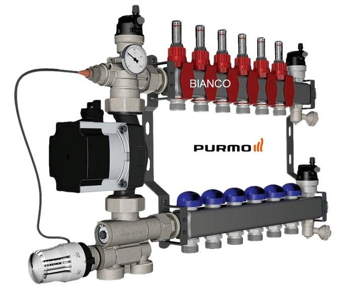 Distribuitor din inox cu 6 circuite debitmetre si ventile termostatice Purmo Premium