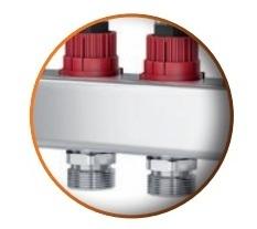 Distribuitor din inox cu 12 circuite debitmetre si ventile termostatice Purmo Premium