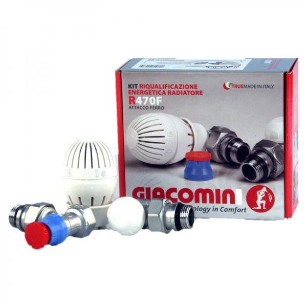Giacomini R470F - set robinet termostatat cap termostatic si robinet retur 1/2 colt
