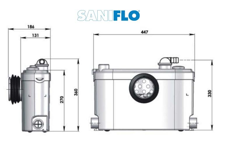 Pompa pentru ape uzate SaniSLIM - WC, lavoar, bideu, dus