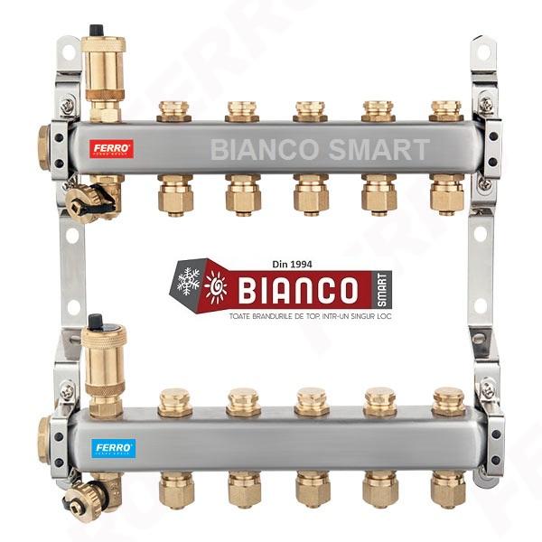 Distribuitor din inox cu 5 circuite tur - retur pentru calorifere