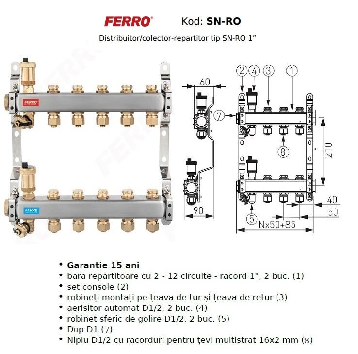 Distribuitor din inox cu 6 circuite tur - retur pentru calorifere