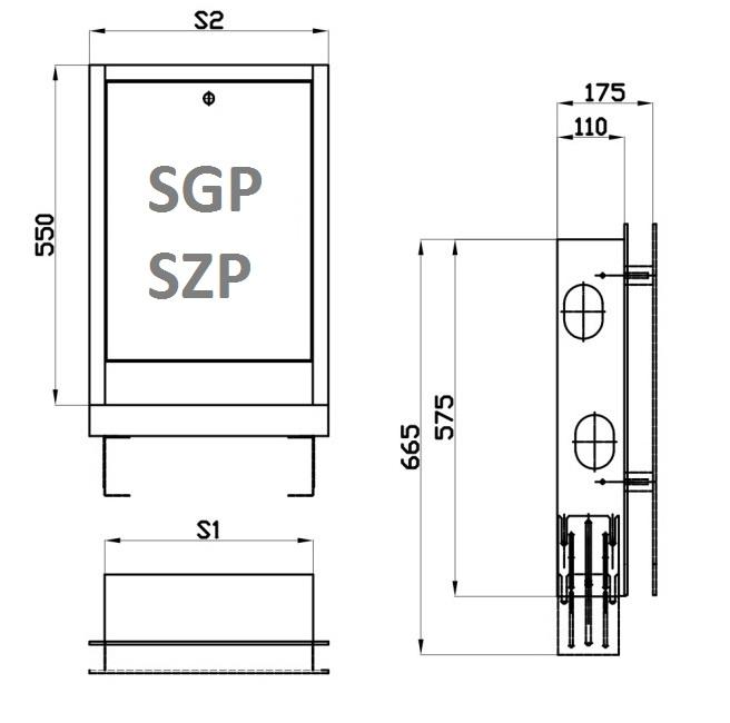 Caseta metalica distribuitor SGP1 435 mm reglabila pe inaltime si adancime