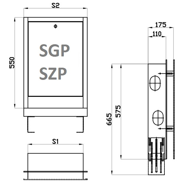 Caseta metalica distribuitor SGP2 565 mm