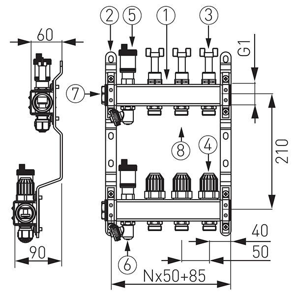 Distribuitor-colector din inox cu debitmetre si ventile termostatice cu 5 circuite
