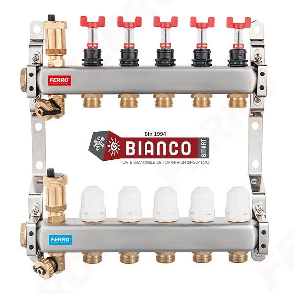 Distribuitor-colector din inox cu debitmetre si ventile termostatice cu 9 circuite