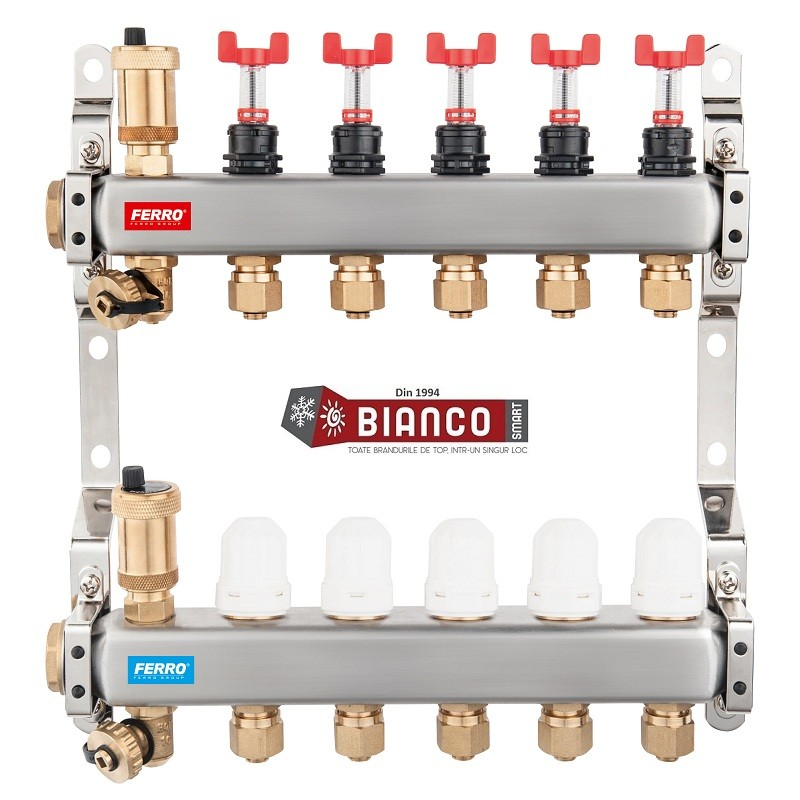 Distribuitor din inox cu debitmetre, ventile termostatice si racorduri 16 mm cu 9 circuite