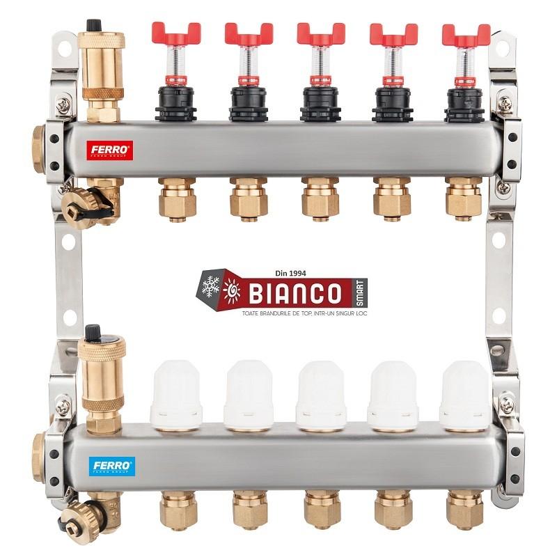 Distribuitor din inox cu debitmetre, ventile termostatice si racorduri 16 mm cu 8 circuite