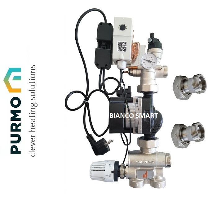 Grupul de amestec și pompare Purmo echipat cu pompa eficientă energetic Grundfos UPM3