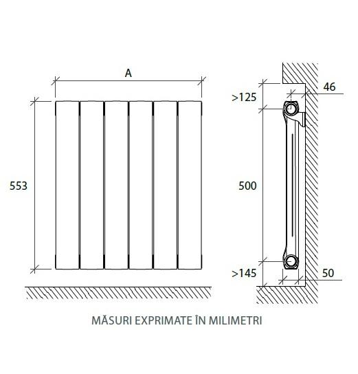 Calorifer din aluminiu Fondital POP 500x1280 - 16 elementi