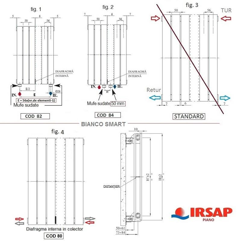 Calorifer vertical IRSAP Piano 2- 456x2220