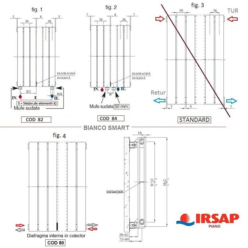 Calorifer vertical IRSAP Piano 2- 568x2020
