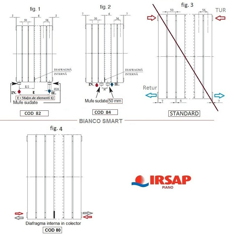 Calorifer vertical IRSAP Piano 344x1820