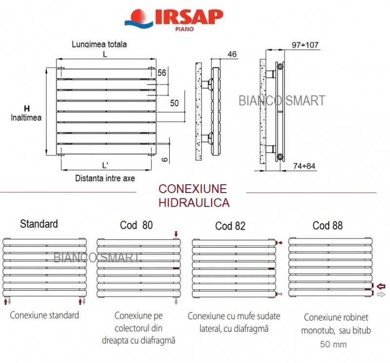 Calorifer orizontal IRSAP Piano2 - 344x920