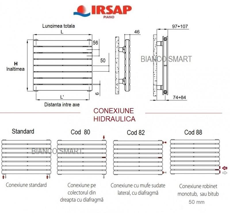 Calorifer orizontal IRSAP Piano2 - 344x1820