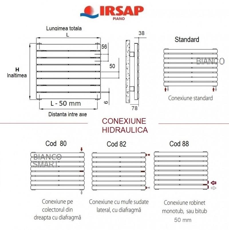 Calorifer orizontal IRSAP Piano 680x1820