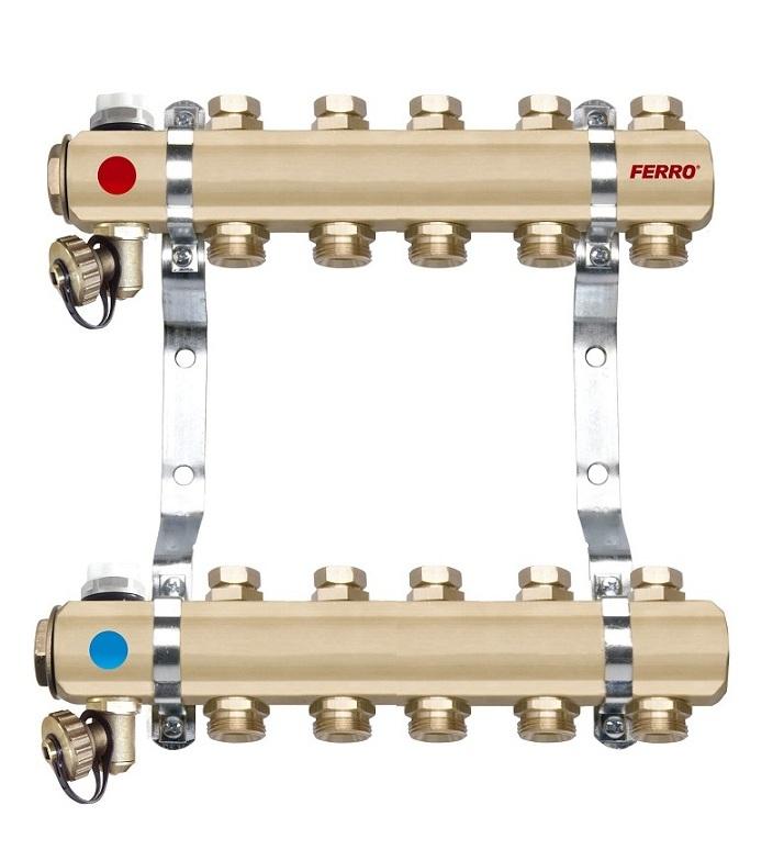 Distribuitor - colector din alama cu 6 circuite pentru calorifere