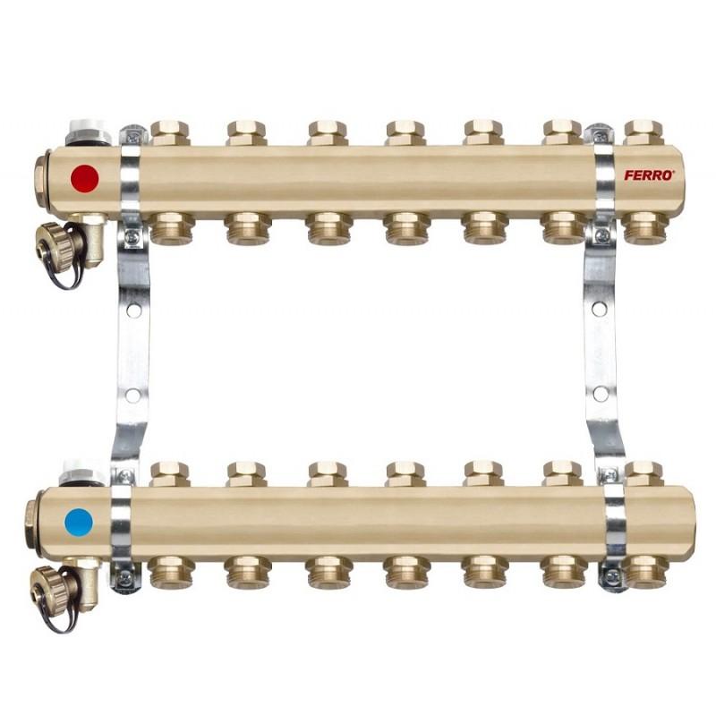 Distribuitor - colector din alama cu 7 circuite pentru calorifere